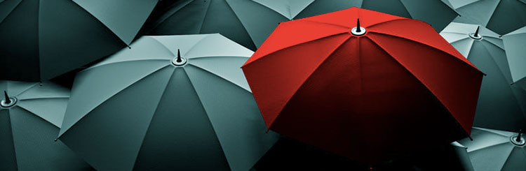 Red Umbrella stands out amongst grey ones - CLP Solicitors stands out amongst its peers