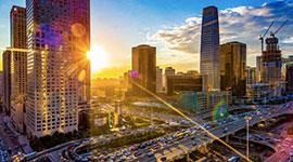 Beautiful city landscape against the sunset